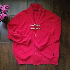 Sean John Red Button Sweatshirt Cardigan(3XL)
